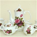 Red Pink Roses Tea Set for 2