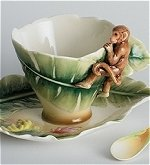 Monkey Cup and Saucer with Spoon