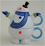 Snowman with scarf Tea For One