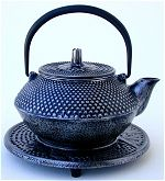 Cast Iron Silver Colored Teapot with Trivet