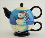 Blue Snowman Tea For One