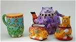 Colorful Cat Tea Set