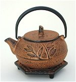 Leaf Cast Iron Teapot w/Trivet