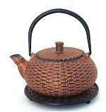 Basket Weave Cast Iron Teapot w/Trivet and 4 Cups