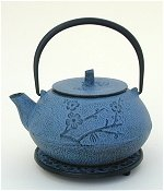 Blue Floral  Cast Iron Teapot w/Trivet and 4 Cups