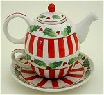 Holly and Stripes Tea For One