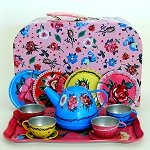 Flowers and Lady Bugs Tin Tes Set